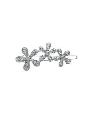 Haarclip luxe met drie bloemen met strass steentjes