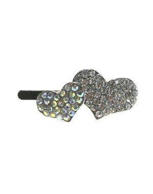 Haarclip luxe magneet zilverkleurig hartjes