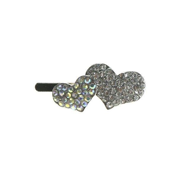 Goudhaartje Haarclip luxe magneet zilverkleurig hartjes