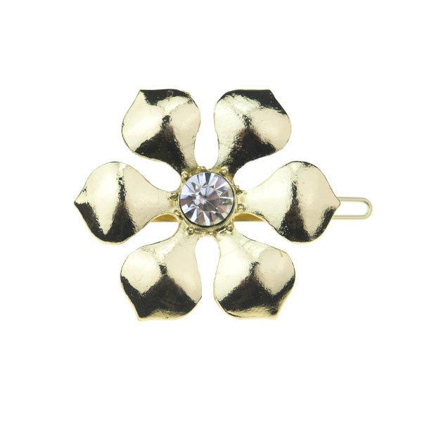 Haarclip luxe goudkleurig bloem facet steen