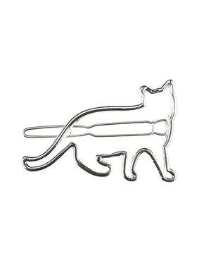 Haarclip luxe zilverkleurig kat