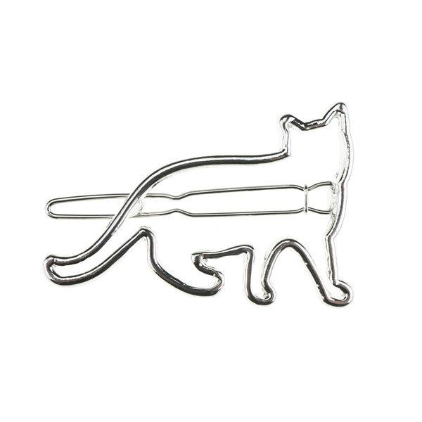 Goudhaartje Haarclip luxe zilverkleurig kat