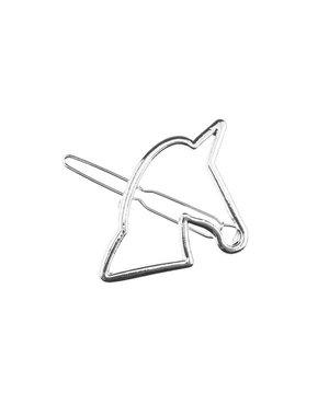 Zilverkleurige haarclip met paardenhoofd