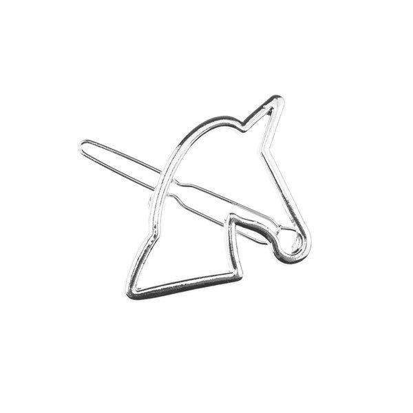 Goudhaartje Zilverkleurige haarclip met paardenhoofd