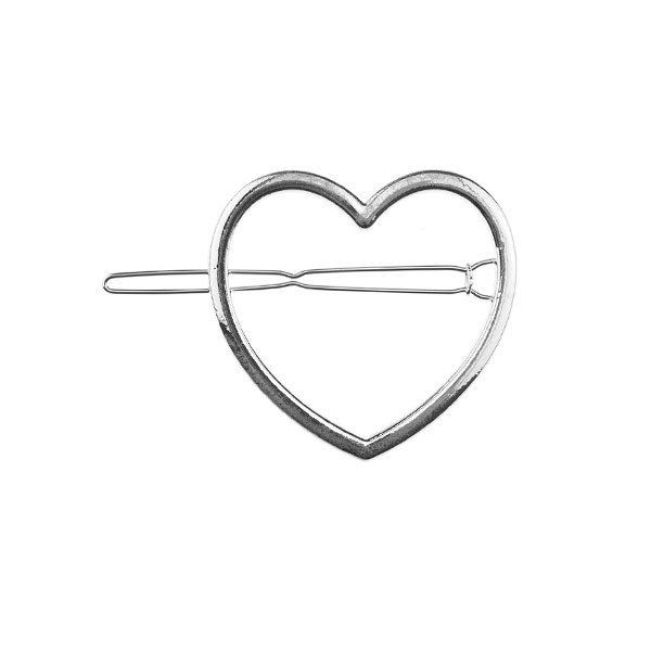 Haarclip zilverkleurig hart