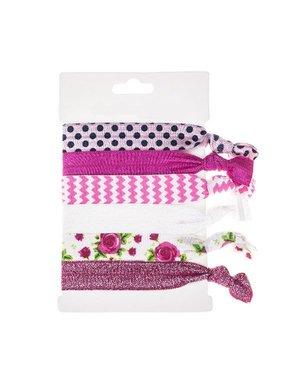 Haarelastiek/armband 6 stuks fuchsia roze