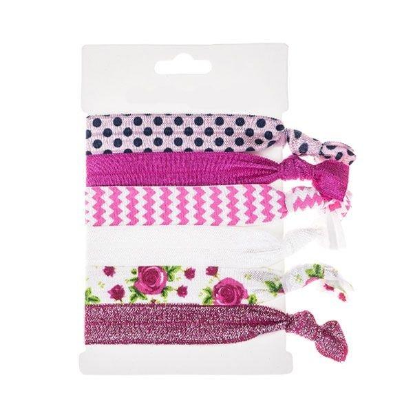 Goudhaartje Haarelastiek/armband 6 stuks fuchsia roze