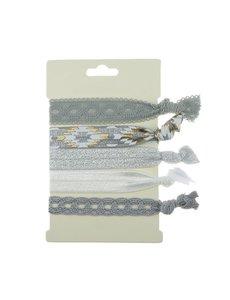 Goudhaartje Haarelastiek/armband 5 stuks zilver grijs
