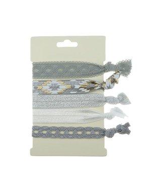 Haarelastiek/armband 5 stuks zilver grijs
