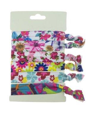 Haarelastiek/armband 6 stuks multicolor bloemen