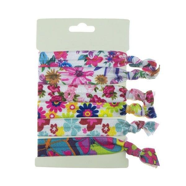 Goudhaartje Haarelastiek/armband 6 stuks multicolor bloemen
