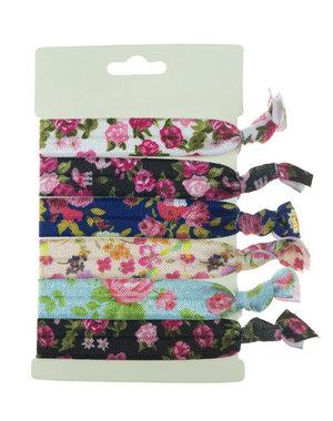 Haarelastiek/armband 6 stuks multicolor rozen