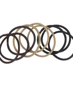 Haarelastieken set van 9 stuks breed bruin
