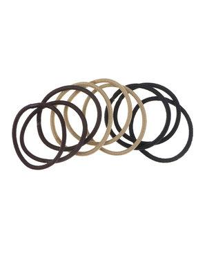 Haarelastieken set van 9 stuks bruin
