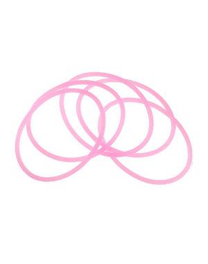 Haarelastieken set van 5 stuks rubber roze