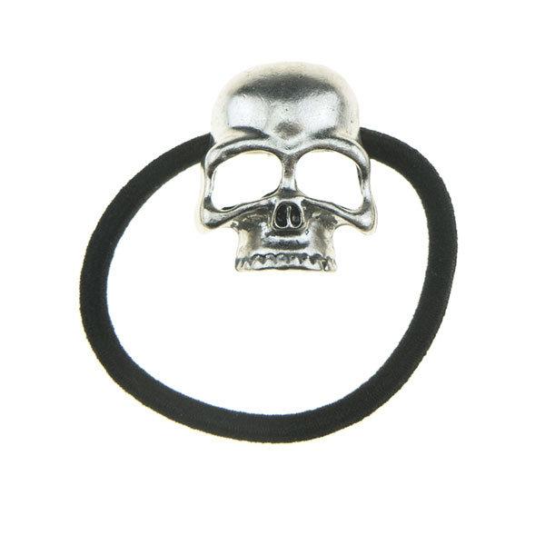 Haarelastiek skull zilverkleurig