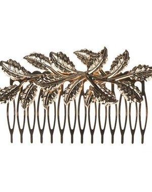 Haarkam goudkleurig model bladeren