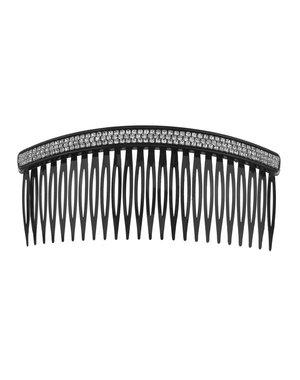 Haarkam kunststof zwart met strass steentjes