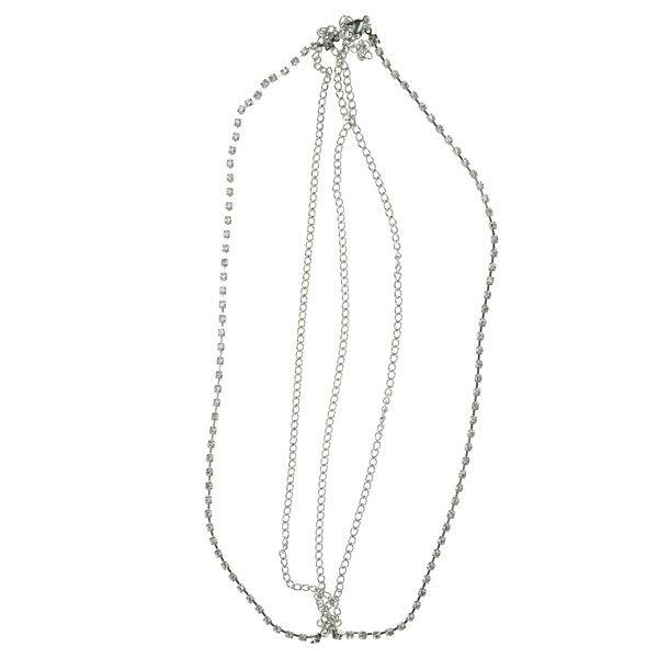 Haarketting zilverkleurig strass steentjes vierkant