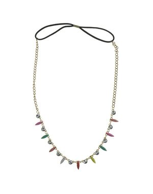 Haarketting goudkleurig met strass multicolor