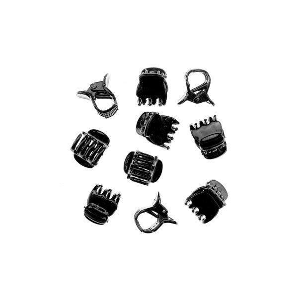 Goudhaartje Haarklemmetjes kunststof mini zwart 10 stuks