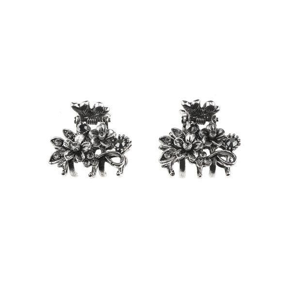 Haarklemmetjes bloemen strass steentjes zilverkleurig
