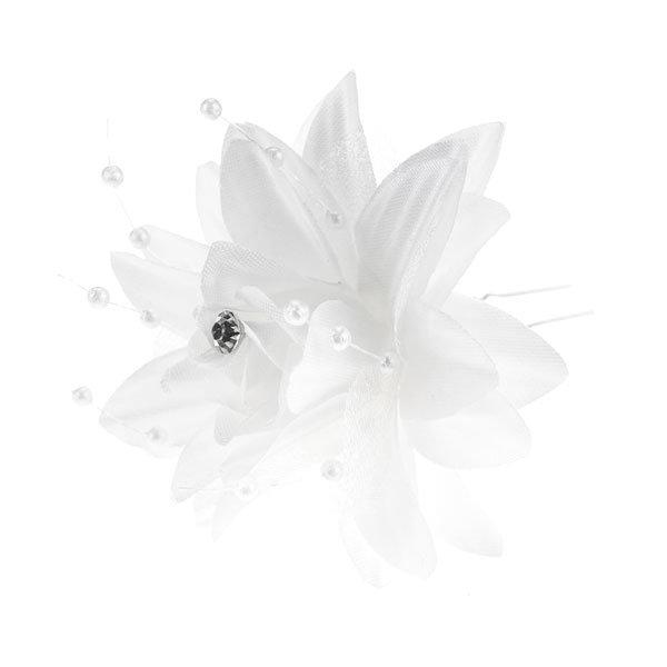 Goudhaartje Haarpin lelie in de kleur wit met strass steentje en parels