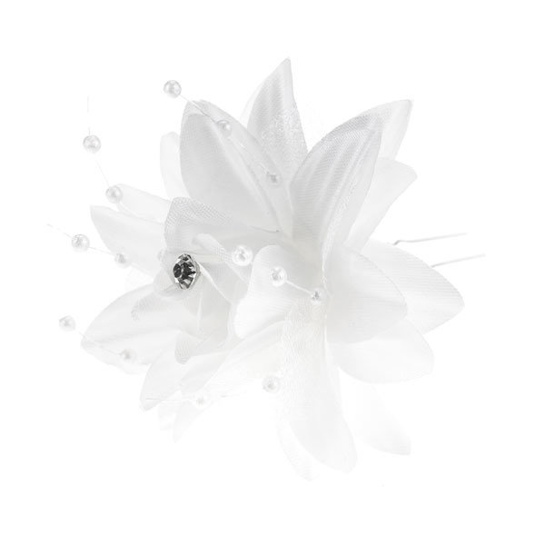 Haarpin lelie in de kleur wit met strass steentje en parels