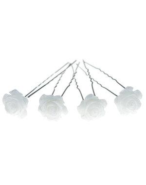 Haarpinnen in de kleur wit met glans vorm roos 4 stuks