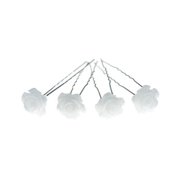 Goudhaartje Haarpinnen in de kleur wit met glans vorm roos 4 stuks