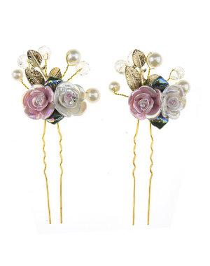Haarpinnen goudkleurig roos roze/wit