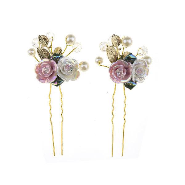 Goudhaartje Haarpinnen goudkleurig roos roze/wit