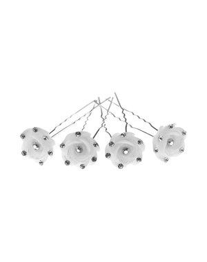 Goudhaartje Haarpinnen roos wit strass 4 stuks
