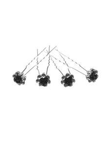 Goudhaartje Haarpinnen vorm bloem roos zwart 4 stuks