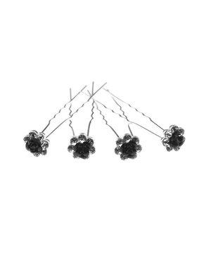 Haarpinnen vorm bloem roos zwart 4 stuks