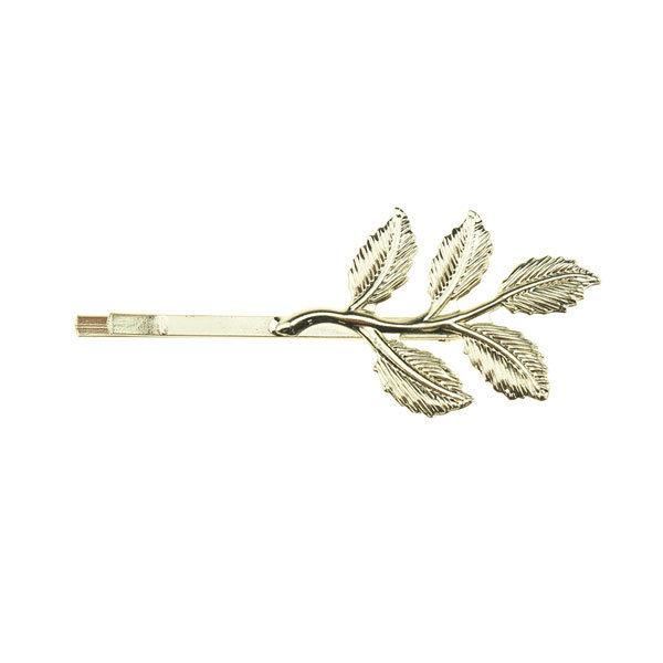 Goudhaartje Haarschuifje vorm bladeren kleur goudkleurig