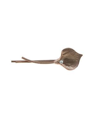 Haarschuifje bloem met parel bronskleurig