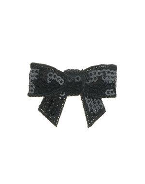 Goudhaartje Haarstrikje klein pailletten in de kleur zwart