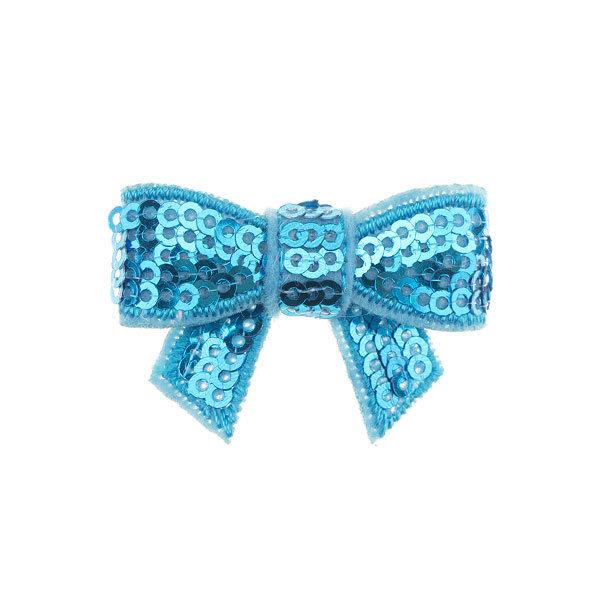 Haarstrikje klein pailletten in de kleur lichtblauw