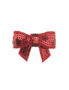 Goudhaartje Haarstrikje klein pailletten in de kleur rood