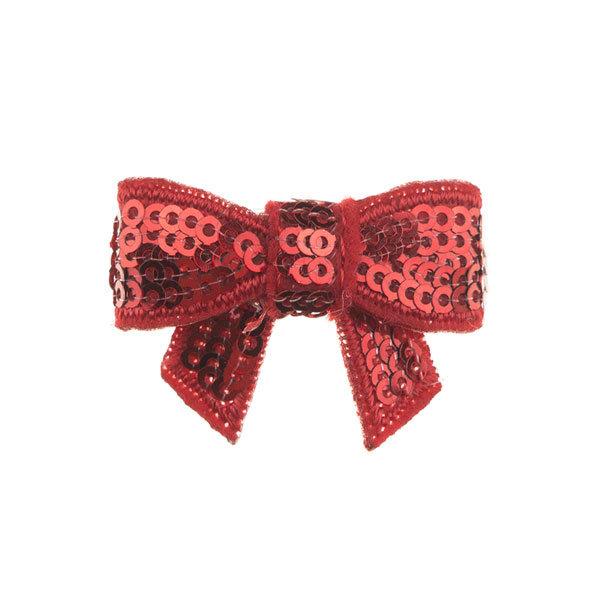 Haarstrikje klein pailletten in de kleur rood