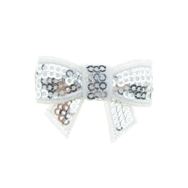 Haarstrikje klein pailletten in de kleur zilver