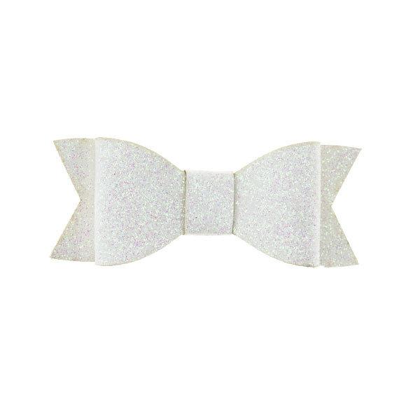 Haarstrikje met glitters in de kleur wit