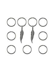 Goudhaartje Hair rings 9 stuks met 2 bedels veer zilverkleurig