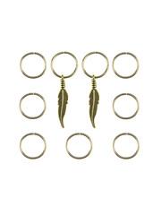 Goudhaartje Hair rings 9 stuks met 2 bedels veer goudkleurig