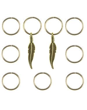 Hair rings 9 stuks met 2 bedels veer goudkleurig