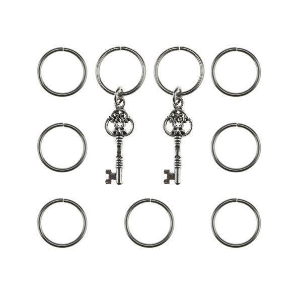 Hair rings 9 stuks met 2 bedels sleutel zilverkleurig