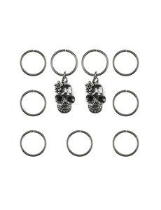 Goudhaartje Hair rings 9 stuks met 2 bedels skull zilverkleurig