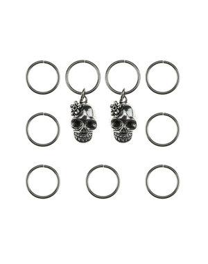 Hair rings 9 stuks met 2 bedels skull zilverkleurig