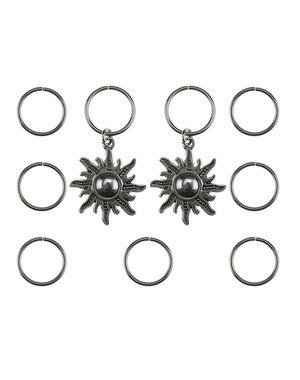 Hair rings 9 stuks met 2 bedels zon zilverkleurig